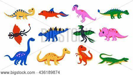Cartoon Dinosaurs. Cute Doodle Jurassic Lizard, Colourful Prehistoric Reptiles. Vector Ancient Preda