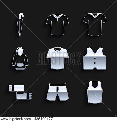 Set T-shirt, Short Or Pants, Undershirt, Waistcoat, Winter Scarf, Hoodie, And Umbrella Icon. Vector