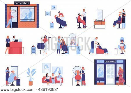 Barbershop Hairdressing Salon Set Of Isolated Icons With Professional Facilities Furniture And Clien