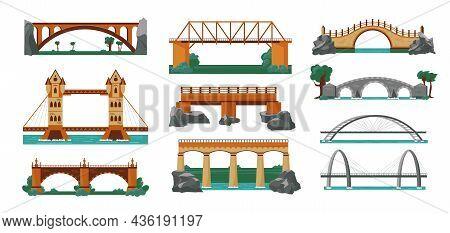 Bridges Color Icon Set Structures For Different Terrain And Landscape On The Mountains Plains Across