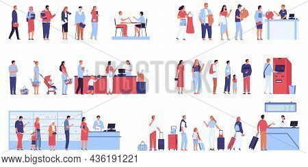 Set Of Isolated Long Queue Compositions With Human Characters Of Passengers Shop Line And Supermarke