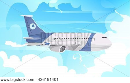 Passenger Aircraft Flying Closeup Side Exterior View Against Blue Cloudy Sky Background Air Travel A