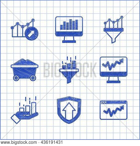 Set Sales Funnel With Chart, Financial Growth, Graph Infographic, Monitor, Coal Mine Trolley, And Ic
