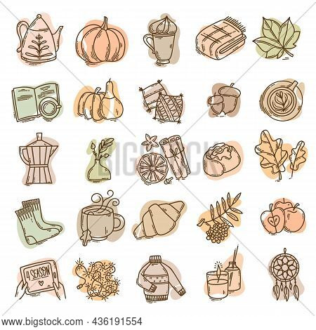 Set Of Hand-drawn Autumn Hygge Mood Vector Icons