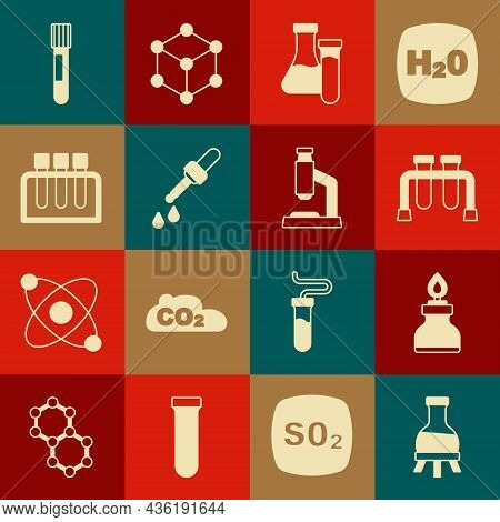 Set Test Tube, Alcohol Or Spirit Burner, Pipette, And Microscope Icon. Vector