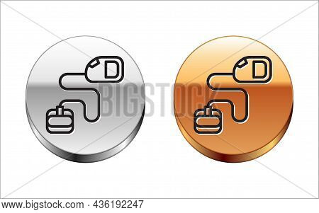 Black Line Retractable Cord Leash With Carabiner Icon Isolated On White Background. Pet Dog Lead. An