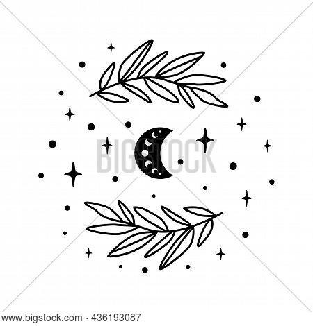 Celestial Moon. Ramadan. Floral Moon Celestial Symbol. Celestial Crescent Isolated Graphic Element.