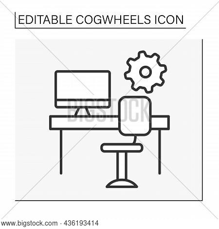 Office Line Icon. Comfortable Room With Desk And Personal Computer For Work. Productivity. Cogwheels