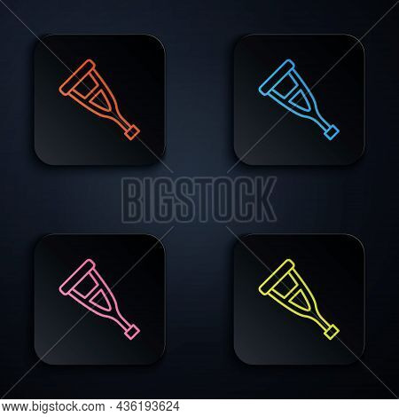 Color Neon Line Crutch Or Crutches Icon Isolated On Black Background. Equipment For Rehabilitation O