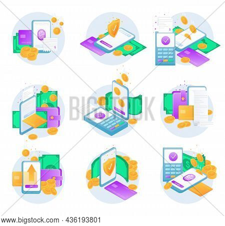 Mobile Payment Set. A Digital Money Transaction. Online Sending Money From Mobile Wallet To Bank Car