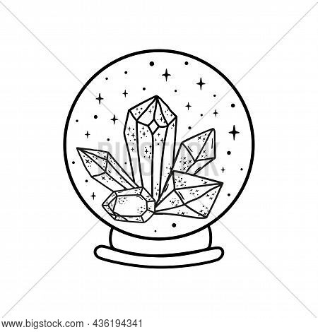 Magic Crystal Ball With Crystals. Crystal Logo Fortune Teller Crystal Ball Sketch. Witchcraft Magic