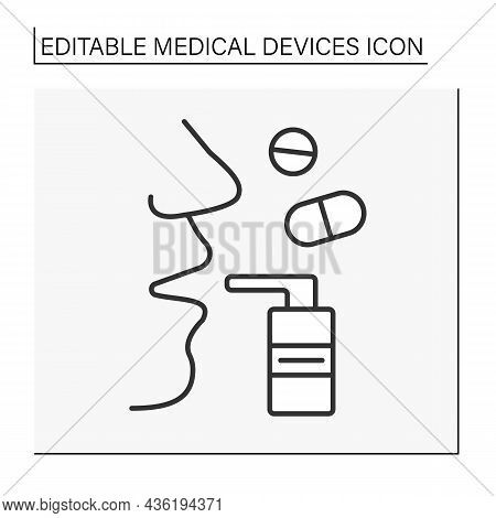 Treatment Line Icon. Inhaler To Treat Asthma. Medical Drugs For Breathing In. Relieving Bronchial Or