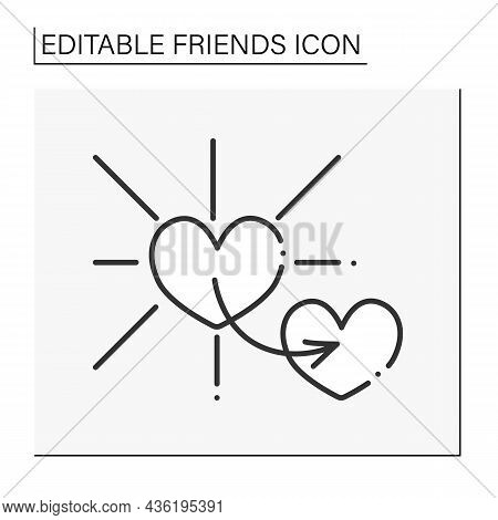 Virtue Line Icon.behaviour Showing High Moral Standards. Kindness. Friends Line Icon. Isolated Vecto