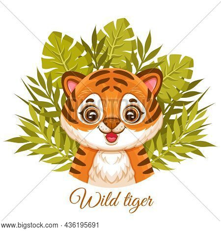 Cute African Baby Tiger Face Or Wildcat Jungle Cub Among Tropical Leaves. Orange Striped Wild Cat He