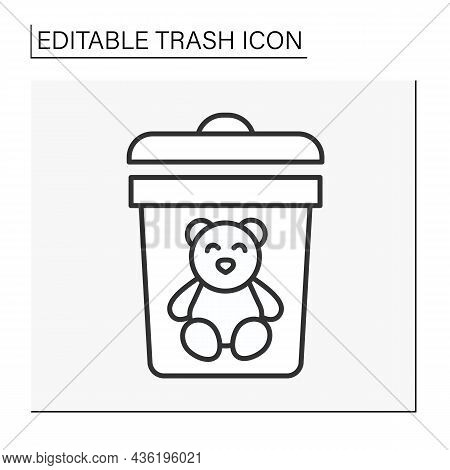 Utilization Line Icon. Waste Sorting. Put The Teddy Bear Into The Bin. Ecology.trash Concept. Isolat