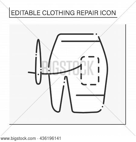 Mini Skirt Line Icon. Trendy Skirt. Sew Hole On Clothing. Needle And Thread. Clothing Repair Concept