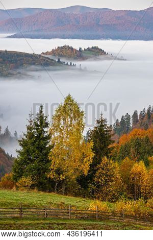 Cloudy And Foggy Autumn Mountain Early Morning Pre Sunrise Scene. Peaceful Picturesque Traveling, Se
