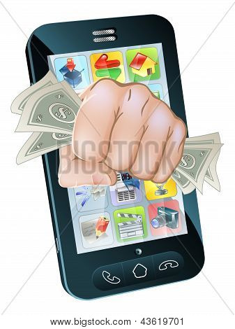 Cash Fist Cell Phone Concept