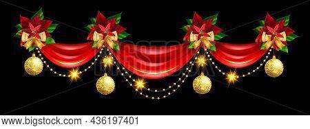 Christmas Holiday Border, Vector X-mas Ribbon Curtain Frame, Golden Winter Decoration, Yellow Bow. F