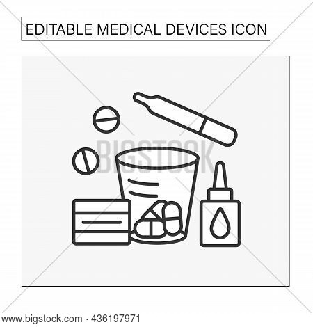 Treatment Line Icon. Nasal Spray, Daily Pills, Thermometer. Special Treatment Things. Medical Servic