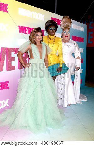 LOS ANGELES - OCT 8:  Shangela, Bob the Drag Queen, Eureka at the