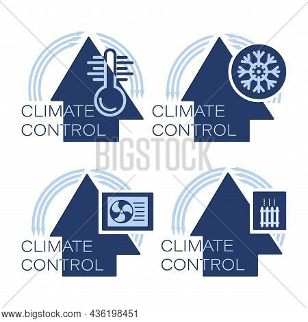 Home Climate Control System. Vector Icon Set. Warming, Heating Unit, Air Conditioners System.