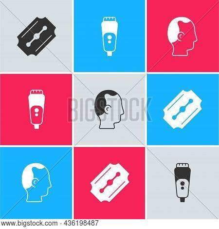 Set Blade Razor, Electric Blade And Baldness Icon. Vector