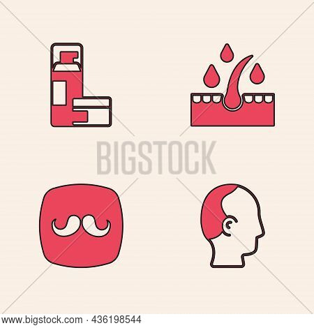 Set Baldness, Shaving Gel Foam, Oil For Hair Care Treatment And Barbershop Icon. Vector