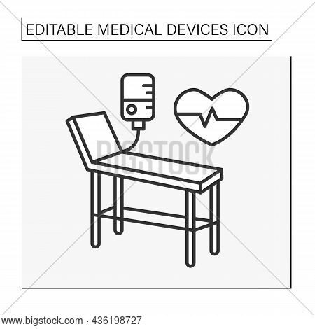 Examination Table Line Icon. Special Device For Examining Patience Health. Resuscitation Room. Treat