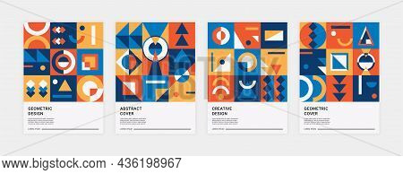Abstract Memphis Posters. Trendy Minimalistic Geometric Placards With Contemporary Brutalism Shapes.