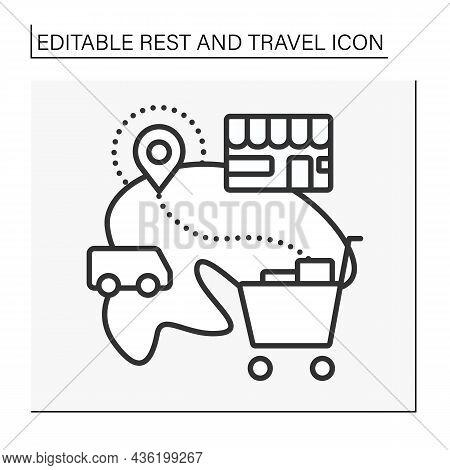 Shopping Line Icon. Tourism To Acquisition Of Goods. Leisure Time. Rest And Travel Concept. Isolated
