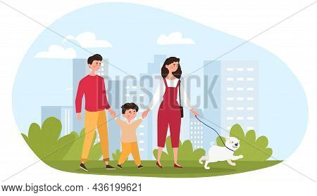 Pretty Young Family. Man And Woman Hold Their Son Hands And Walk Together With Dog In Park. Spending