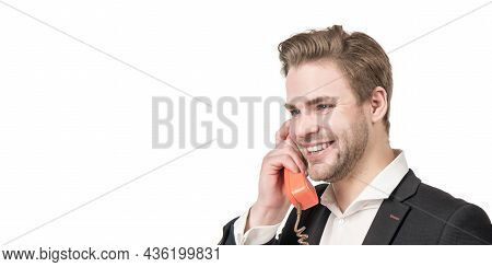 Feeling Of Good Old-fashioned Landline In Hand. Happy Guy Talk On Phone Call. Telephone Call Manager