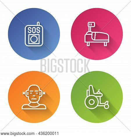 Set Line Press The Sos Button, Hospital Bed, Deaf And Electric Wheelchair. Color Circle Button. Vect