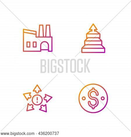 Set Line Dollar Symbol, Many Ways Directional Arrow, Factory And Pyramid Chart Infographics. Gradien