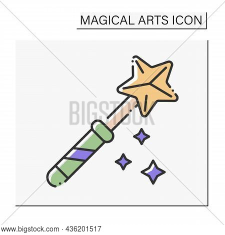 Magic Wand Color Icon. Rod For Magic Spells Or Performing Conjuring Tricks.magical Arts Concept. Iso