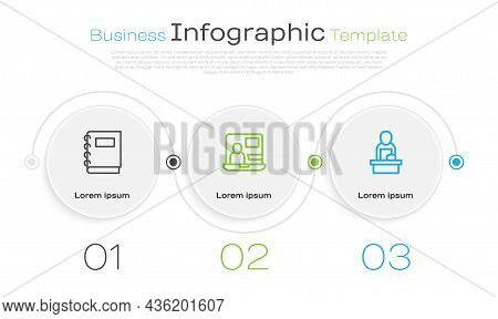 Set Line Notebook, World News And Breaking. Business Infographic Template. Vector