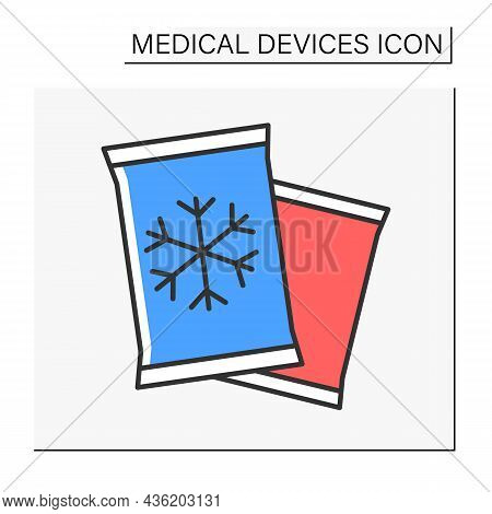 Cold Pack Color Icon. Chilling Packs For Traumas Treatment. Bruise Prevention.medical Devices Concep