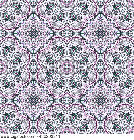 Moroccan Authentic Floral Vector Seamless Motif. Textile Print Design. Decorative Portuguese Pattern