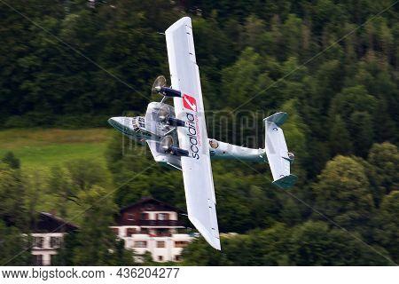Sankt Wolfgang, Austria - July 5, 2014: Old Timer Passenger Seaplane. Cold War And World War Aviatio