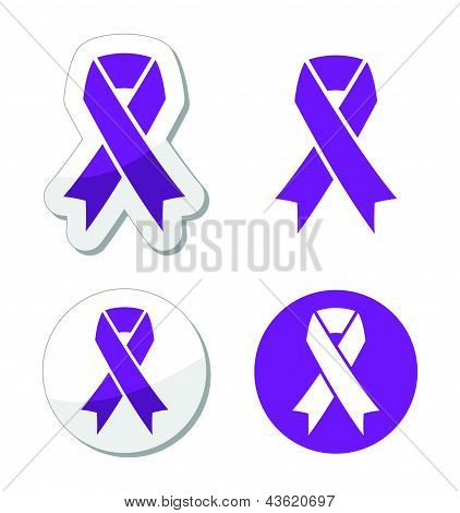 Purple ribbon - pancreatic cancer, testicular cancer, domestic violence awereness symbol
