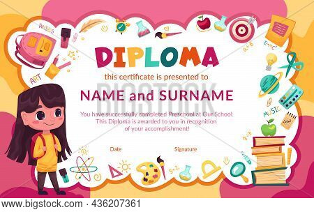 Colorful School And Preschool Diploma Certificate For Kids And Children In Kindergarten Or Primary G