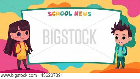 Cute Kids, Pupils Students Read School News. Space For Your Text. Template For Advertising Brochure.