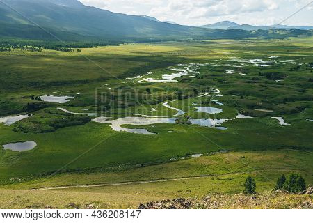 Beautiful Green Mountain Scenery With Lake System On Tableland Among Forest Hills. Scenic Landscape