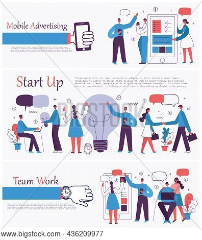 Vector Illustrations Of The Office Concept Business People In The Flat Style. E-commerce, Time And P