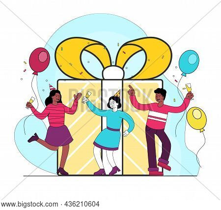 Friends Celebrate Girls Birthday. Holiday Every Year, Party. Celebration And Entertainment Concept.