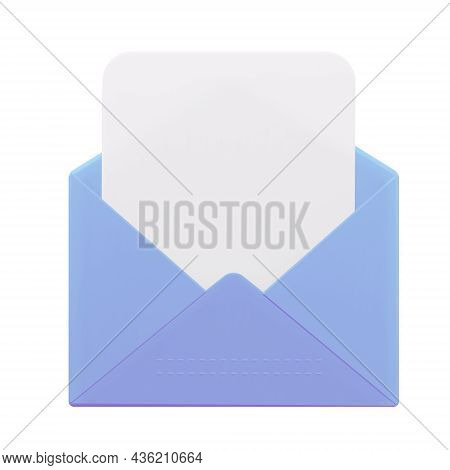 An Open Letter With A Blank Form. 3d Rendering.
