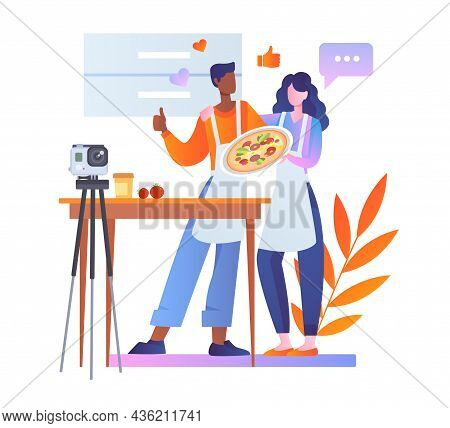 Blogger Films Cooking. Man And Girl Preparing Pizza. Culinary Blogs. Meal Preparation Workshop, Onli