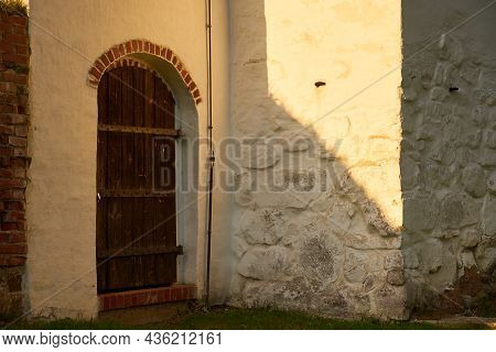 A Vintage Rare Wooden Door Of An Old Medieval House.