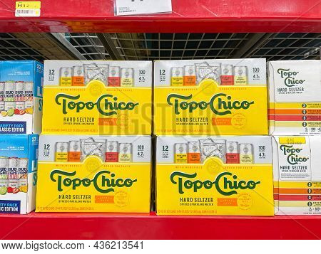 Cases Of Topo Chico Hard Seltzer Spiked Sparkling Water Alcohol Beverages At A Sams Club Store.